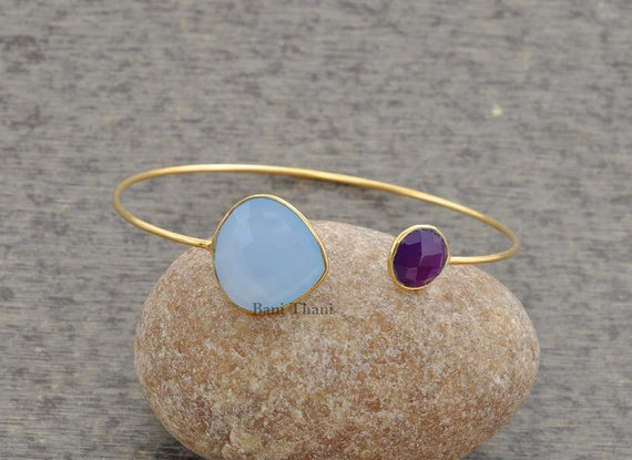 Blue Chalcedony Bracelet-amethyst Quartz Bangle-micron Gold Plated Bangle-925 Sterling Silver Bangle-gemstone Bangle-christmas Gift-#1272