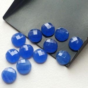 Shop Blue Chalcedony Stones & Crystals! 10mm Blue Chalcedony Faceted Cabochons, Blue Rose Cut Flat Back Cabochons, Round Blue Chalcedony For Jewelry (5Pcs To 20Pcs Options)- KS106 | Natural genuine stones & crystals in various shapes & sizes. Buy raw cut, tumbled, or polished gemstones for making jewelry or crystal healing energy vibration raising reiki stones. #crystals #gemstones #crystalhealing #crystalsandgemstones #energyhealing #affiliate #ad