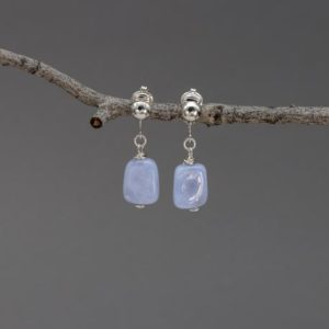 Shop Blue Chalcedony Earrings! Sterling Silver Clip Earrings, Natural Blue Chalcedony Nuggets, Pale Blue Stone Ear Clips | Natural genuine Blue Chalcedony earrings. Buy crystal jewelry, handmade handcrafted artisan jewelry for women.  Unique handmade gift ideas. #jewelry #beadedearrings #beadedjewelry #gift #shopping #handmadejewelry #fashion #style #product #earrings #affiliate #ad