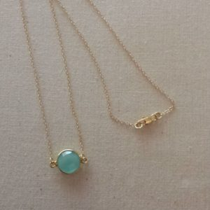 Shop Blue Chalcedony Necklaces! Blue Chalcedony Necklace – 14K gold filled chain – 24K over Sterling Silver bezel | Natural genuine Blue Chalcedony necklaces. Buy crystal jewelry, handmade handcrafted artisan jewelry for women.  Unique handmade gift ideas. #jewelry #beadednecklaces #beadedjewelry #gift #shopping #handmadejewelry #fashion #style #product #necklaces #affiliate #ad