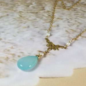 Shop Blue Chalcedony Necklaces! Blue Chalcedony Necklace, Delicate Choker Necklace, Gold Layering Necklace, Dainty Pearl Pendant, Y Necklace, Gift for Her, Leaves | Natural genuine Blue Chalcedony necklaces. Buy crystal jewelry, handmade handcrafted artisan jewelry for women.  Unique handmade gift ideas. #jewelry #beadednecklaces #beadedjewelry #gift #shopping #handmadejewelry #fashion #style #product #necklaces #affiliate #ad