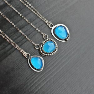 Shop Blue Chalcedony Necklaces! Blue Chalcedony Necklace, Sea blue gem, blue black necklace, bohemian jewelry, hippie necklace, pendant chalcedony, unique boho necklace | Natural genuine Blue Chalcedony necklaces. Buy crystal jewelry, handmade handcrafted artisan jewelry for women.  Unique handmade gift ideas. #jewelry #beadednecklaces #beadedjewelry #gift #shopping #handmadejewelry #fashion #style #product #necklaces #affiliate #ad