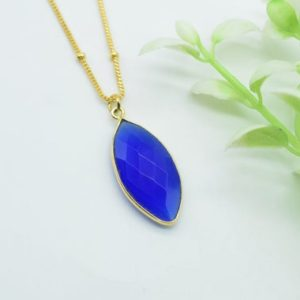 Shop Blue Chalcedony Necklaces! Blue Chalcedony Necklace,silver 925 gold plated,Blue Marquise Gemstone necklace,Boho Necklace,Handmade Necklace,blue chalcedony Healing | Natural genuine Blue Chalcedony necklaces. Buy crystal jewelry, handmade handcrafted artisan jewelry for women.  Unique handmade gift ideas. #jewelry #beadednecklaces #beadedjewelry #gift #shopping #handmadejewelry #fashion #style #product #necklaces #affiliate #ad