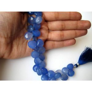 8-10mm Blue Chalcedony Faceted Heart Beads, Blue Chalcedony Briolettes Beads For Necklace, Faceted Gemstone For Jewelry (4IN To 8IN Options) | Natural genuine other-shape Gemstone beads for beading and jewelry making.  #jewelry #beads #beadedjewelry #diyjewelry #jewelrymaking #beadstore #beading #affiliate #ad