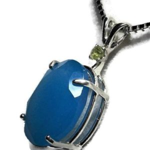 """Blue chalcedony pendant, chalcedony pendant, blue necklace, blue green, statement pendant, sterling silver jewelry, """"Jazzberry Blue"""" 