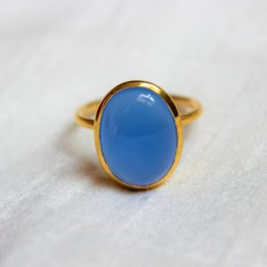 Shop Blue Chalcedony Rings! Blue Chalcedony Ring, 925 Sterling Silver Ring, Gold Plated Ring, Everyday Ring, Handmade Ring, Stackable Ring, Proposal Ring, Oval Ring | Natural genuine Blue Chalcedony rings, simple unique handcrafted gemstone rings. #rings #jewelry #shopping #gift #handmade #fashion #style #affiliate #ad