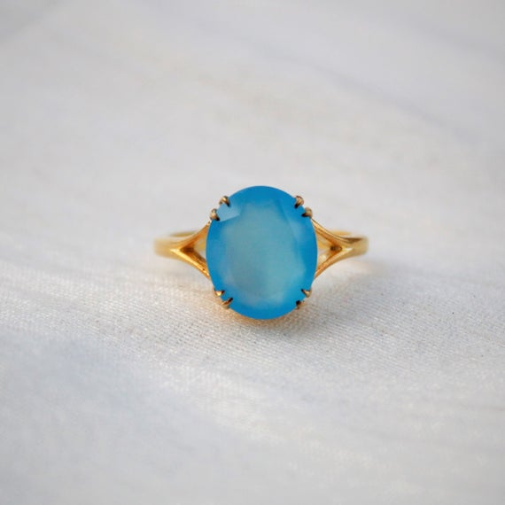 Blue Chalcedony Ring, 925 Sterling Silver Ring, Gold Plated Ring, Everyday Ring, Handmade Ring, Stackable Ring, Proposal Ring, Oval Ring
