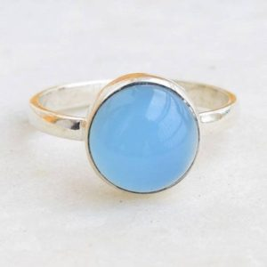 Shop Blue Chalcedony Rings! Blue Chalcedony Ring,  Blue Aqua Chalcedony Ring,  Blue Gemstone Ring | Natural genuine Blue Chalcedony rings, simple unique handcrafted gemstone rings. #rings #jewelry #shopping #gift #handmade #fashion #style #affiliate #ad