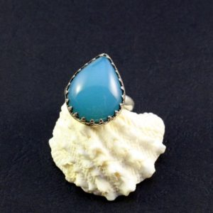 Shop Blue Chalcedony Rings! blue chalcedony ring with  boho lace bezel, romantic ring | Natural genuine Blue Chalcedony rings, simple unique handcrafted gemstone rings. #rings #jewelry #shopping #gift #handmade #fashion #style #affiliate #ad