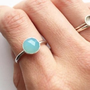 Shop Blue Chalcedony Rings! BLUE CHALCEDONY RING – Sterling Silver Blue 8mm Gemstone Ring  – Solitaire Faceted Bezel Set Large Ring – Chunky Aqua Gem Stackable Ring | Natural genuine Blue Chalcedony rings, simple unique handcrafted gemstone rings. #rings #jewelry #shopping #gift #handmade #fashion #style #affiliate #ad