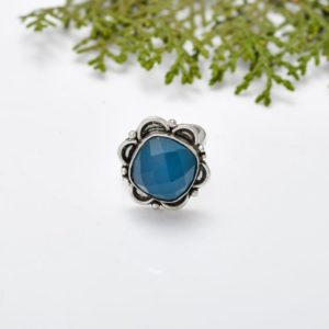 Shop Blue Chalcedony Rings! blue chalcedony Ring,925 Sterling Silver,vintage,bazel ring,Bohemian,Gypsy,Southwestern,boho ring,designer ring,oxidized ,Gift Wife Sis Mom | Natural genuine Blue Chalcedony rings, simple unique handcrafted gemstone rings. #rings #jewelry #shopping #gift #handmade #fashion #style #affiliate #ad