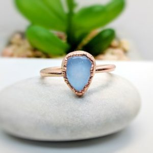 Shop Blue Chalcedony Rings! Blue Chalcedony ring~Gold Handmade ring~Electroformed ring~Promise ring~Stacking ring~Boho ring~Birthday Gift for her~Statement ring | Natural genuine Blue Chalcedony rings, simple unique handcrafted gemstone rings. #rings #jewelry #shopping #gift #handmade #fashion #style #affiliate #ad
