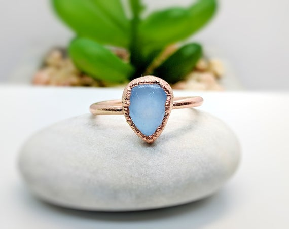 Blue Chalcedony Ring~gold Handmade Ring~electroformed Ring~promise Ring~stacking Ring~boho Ring~birthday Gift For Her~statement Ring
