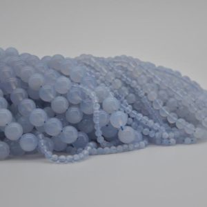 "Shop Blue Chalcedony Beads! High Quality Grade A Natural Blue Chalcedony Semi-precious Gemstone Round Beads – 4mm, 6mm, 8mm, 10mm sizes – Approx 15.5"" strand 