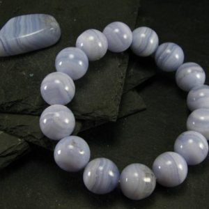 Shop Blue Lace Agate Bracelets! Blue Lace Agate Genuine Bracelet ~ 7.5 Inches ~ 14mm Round Beads | Natural genuine Blue Lace Agate bracelets. Buy crystal jewelry, handmade handcrafted artisan jewelry for women.  Unique handmade gift ideas. #jewelry #beadedbracelets #beadedjewelry #gift #shopping #handmadejewelry #fashion #style #product #bracelets #affiliate #ad