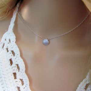 Shop Blue Lace Agate Necklaces! Natural Blue Lace Agate Necklace, Dainty Gemstone Choker, Best Friend Gift | Natural genuine Blue Lace Agate necklaces. Buy crystal jewelry, handmade handcrafted artisan jewelry for women.  Unique handmade gift ideas. #jewelry #beadednecklaces #beadedjewelry #gift #shopping #handmadejewelry #fashion #style #product #necklaces #affiliate #ad