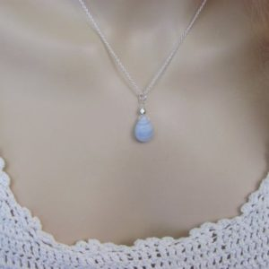 Shop Blue Lace Agate Pendants! Blue Lace Agate Necklace, Natural Agate Stone Pendant in Sterling Silver, Best Friend Gift | Natural genuine Blue Lace Agate pendants. Buy crystal jewelry, handmade handcrafted artisan jewelry for women.  Unique handmade gift ideas. #jewelry #beadedpendants #beadedjewelry #gift #shopping #handmadejewelry #fashion #style #product #pendants #affiliate #ad