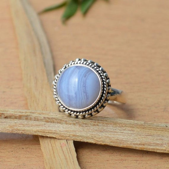 Designer Natural Blue Lace Agate Ring,solid 925 Sterling Silver Blue Lace Ring,cabochon Blue Stone Ring,beautiful Natural Birthstone Ring
