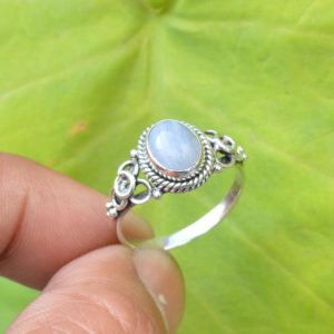Blue Lace Agate Ring | Lace Agate Ring | Blue Lace Agate Engagement Ring | 7×9 mm Oval Blue Lace Agate Ring | 925 Sterling Silver Ring | Natural genuine Gemstone rings, simple unique alternative gemstone engagement rings. #rings #jewelry #bridal #wedding #jewelryaccessories #engagementrings #weddingideas #affiliate #ad