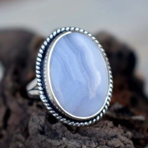 Shop Blue Lace Agate Rings! Natural Blue Lace Agate Ring , Solid 925 Sterling Silver Blue Lace Ring , Cabochon Blue Stone Ring,Blue Lace Agate Ring , Christmas Gift | Natural genuine Blue Lace Agate rings, simple unique handcrafted gemstone rings. #rings #jewelry #shopping #gift #handmade #fashion #style #affiliate #ad