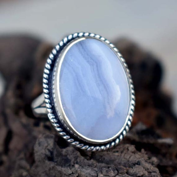 Natural Blue Lace Agate Ring , Solid 925 Sterling Silver Blue Lace Ring , Cabochon Blue Stone Ring,blue Lace Agate Ring , Christmas Gift