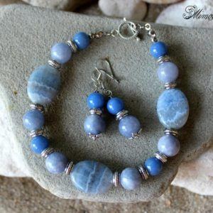 Shop Blue Chalcedony Bracelets! Blue Lace Chalcedony, Aquamarine Jewelry Set, Blue Agate Jewelry, Aquamarine Bracelet, Blue Chalcedony Bracelet, Aquamarine Agate Earrings | Natural genuine Blue Chalcedony bracelets. Buy crystal jewelry, handmade handcrafted artisan jewelry for women.  Unique handmade gift ideas. #jewelry #beadedbracelets #beadedjewelry #gift #shopping #handmadejewelry #fashion #style #product #bracelets #affiliate #ad