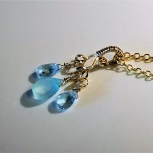 Shop Blue Chalcedony Necklaces! Blue Topaz Necklace, Blue Chalcedony Necklace, Topaz Gold Necklace ,Gold Necklace ,Gemstone Necklace, Dainty Necklace, ReneeDawnArtfulJewel   Natural genuine Blue Chalcedony necklaces. Buy crystal jewelry, handmade handcrafted artisan jewelry for women.  Unique handmade gift ideas. #jewelry #beadednecklaces #beadedjewelry #gift #shopping #handmadejewelry #fashion #style #product #necklaces #affiliate #ad