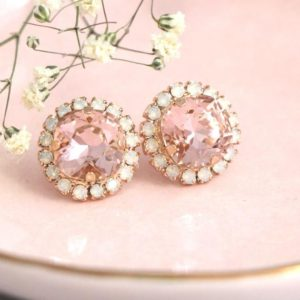 Blush Crystal Stud Bridal Earrings, Bridesmaids Blush Earrings, Swarovski Crystal Blush Earrings, Morganite Earrings, Peach Stud Earrings | Natural genuine Gemstone earrings. Buy handcrafted artisan wedding jewelry.  Unique handmade bridal jewelry gift ideas. #jewelry #beadedearrings #gift #crystaljewelry #shopping #handmadejewelry #wedding #bridal #earrings #affiliate #ad