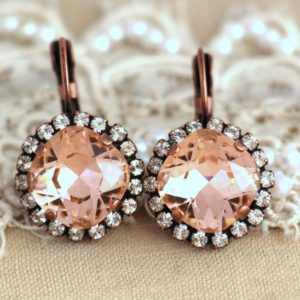 Blush Earrings, Morganite earrings, Dusty Rose Crystal drop earrings, Bridal earrings, Wedding jewelry, Morganite Bridesmaids Gift Earrings | Natural genuine Gemstone earrings. Buy handcrafted artisan wedding jewelry.  Unique handmade bridal jewelry gift ideas. #jewelry #beadedearrings #gift #crystaljewelry #shopping #handmadejewelry #wedding #bridal #earrings #affiliate #ad