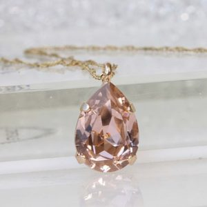 Shop Morganite Necklaces! BLUSH MORGANITE NECKLACE, Teardrop Pendant, Wedding Jewelry, Bridal Simple Necklace, Light Peach Necklace, Gold Pink Necklace, Gift For Her | Natural genuine Morganite necklaces. Buy handcrafted artisan wedding jewelry.  Unique handmade bridal jewelry gift ideas. #jewelry #beadednecklaces #gift #crystaljewelry #shopping #handmadejewelry #wedding #bridal #necklaces #affiliate #ad