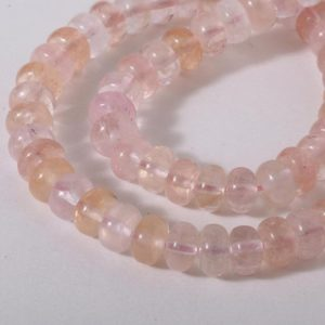 Shop Morganite Rondelle Beads! Brazilian Morganite Plain Rondelles AAA Quality Length: 20cms 8×5 mm Approx | Natural genuine rondelle Morganite beads for beading and jewelry making.  #jewelry #beads #beadedjewelry #diyjewelry #jewelrymaking #beadstore #beading #affiliate #ad