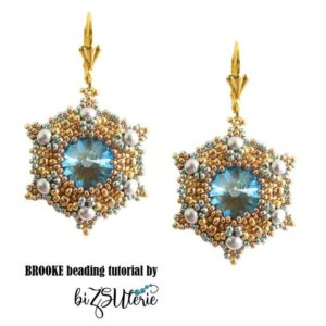 Shop Jewelry Making Tutorials! Brooke earrings – instant download DIY beading pattern, tutorial in ENGLISH w. cylinder and seed beads,  RounDuo mini beads and SW cabochon | Shop jewelry making and beading supplies, tools & findings for DIY jewelry making and crafts. #jewelrymaking #diyjewelry #jewelrycrafts #jewelrysupplies #beading #affiliate #ad