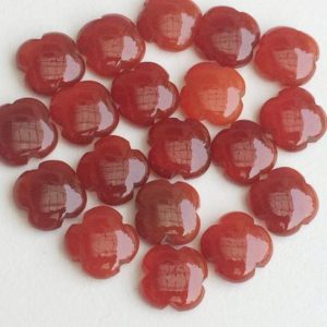 Shop Carnelian Cabochons! 15mm Orange Chalcedony Fancy Floral Cabochons, 6 Pieces Carnelian Color Chalcedony Clover Shape, Flat Plain Floral Gems For Jewelry – KS3196 | Natural genuine stones & crystals in various shapes & sizes. Buy raw cut, tumbled, or polished gemstones for making jewelry or crystal healing energy vibration raising reiki stones. #crystals #gemstones #crystalhealing #crystalsandgemstones #energyhealing #affiliate #ad