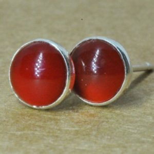 Shop Carnelian Jewelry! Carnelian Earrings, Carnelian jewelry with Sterling Silver Studs, 6mm Cornelian mens studs | Natural genuine Carnelian jewelry. Buy handcrafted artisan men's jewelry, gifts for men.  Unique handmade mens fashion accessories. #jewelry #beadedjewelry #beadedjewelry #shopping #gift #handmadejewelry #jewelry #affiliate #ad