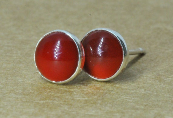 Carnelian Earrings, Carnelian Jewelry With Sterling Silver Studs, 6mm Cornelian Mens Studs