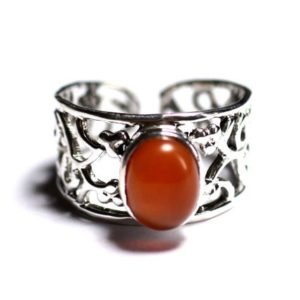 Shop Carnelian Rings! N224 – 925 Sterling Silver Ring And Stone – Carnelian Oval 9x7mm | Natural genuine Carnelian rings, simple unique handcrafted gemstone rings. #rings #jewelry #shopping #gift #handmade #fashion #style #affiliate #ad