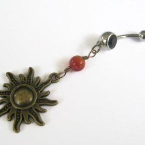 Shop Carnelian Jewelry! Carnelian Sun Belly Ring, BRONZE Belly Button Ring, Fiery Carnelian, Birthstone Navel Piercing, Nature Body Jewelry, Sunshine, Sunny | Natural genuine Carnelian jewelry. Buy crystal jewelry, handmade handcrafted artisan jewelry for women.  Unique handmade gift ideas. #jewelry #beadedjewelry #beadedjewelry #gift #shopping #handmadejewelry #fashion #style #product #jewelry #affiliate #ad