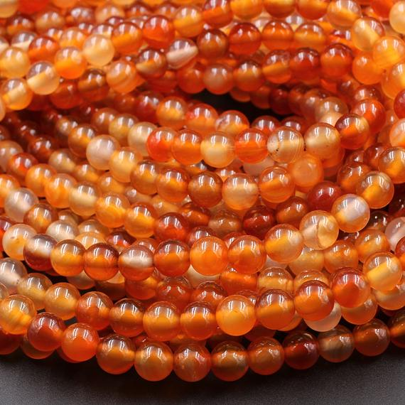 "Aaa Natural Carnelian 4mm 6mm 8mm 10mm Round Beads Highly Polished Finish Natural Red Orange Gemstone 15.5"" Strand"