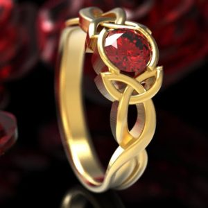 Celtic Ruby Engagement Ring, Celtic Gold Engagement Ring, Celtic Ruby Solitaire Ring, 10K 14K 18K Gold or Platinum Made in Your Size CR-405b | Natural genuine Array rings, simple unique alternative gemstone engagement rings. #rings #jewelry #bridal #wedding #jewelryaccessories #engagementrings #weddingideas #affiliate #ad