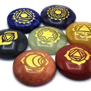 Shop Chakra Stone Sets! Chakra Stone Set with 7 Chakra Stones and Symbols – Pyramid, Oval, Worry | Crystal Chakra Set, Spiritual Gift (Healing Stones and Crystals) | Shop jewelry making and beading supplies, tools & findings for DIY jewelry making and crafts. #jewelrymaking #diyjewelry #jewelrycrafts #jewelrysupplies #beading #affiliate #ad