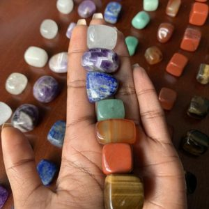 Shop Chakra Stone Sets! Chakra Stone Set 7 Tumbled Stones Set Reiki Chakra Crystal Set • Quartz, Amethyst, Lapis Lazuli, Jade, Carnelian, Red Jasper, Tigers Eye | Shop jewelry making and beading supplies, tools & findings for DIY jewelry making and crafts. #jewelrymaking #diyjewelry #jewelrycrafts #jewelrysupplies #beading #affiliate #ad