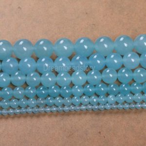 Chalcedony Beads, Smooth Round Light Blue Chalcedony Round 4 6 8 10 12 14mm Chalcedony Stone Beads | Natural genuine round Gemstone beads for beading and jewelry making.  #jewelry #beads #beadedjewelry #diyjewelry #jewelrymaking #beadstore #beading #affiliate #ad
