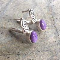 Charoite Earrings, Natural Charoite, Tribal Earrings, Vintage Earrings, Scorpio Birthstone, Artistic Earrings, Silver Earrings, Charoite | Natural genuine Gemstone jewelry. Buy crystal jewelry, handmade handcrafted artisan jewelry for women.  Unique handmade gift ideas. #jewelry #beadedjewelry #beadedjewelry #gift #shopping #handmadejewelry #fashion #style #product #jewelry #affiliate #ad