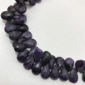 Shop Charoite Faceted Beads! Sugilite Faceted Pears 5×8 to 8x13mm 8 inches 150 cts/suglite/Faceted Pears/Semiprecious Beads/Stone Beads/Rare Beads/Gemstone Beads/Beads. | Natural genuine faceted Charoite beads for beading and jewelry making.  #jewelry #beads #beadedjewelry #diyjewelry #jewelrymaking #beadstore #beading #affiliate #ad