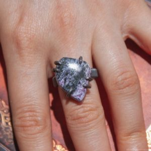 Shop Charoite Rings! Charoite Ring Size 8, Wire Wrapped Ring, Big Ring, Purple Stone Jewelry, Copper Band Rings For Women, Black Ring, Gift For Wife | Natural genuine Charoite rings, simple unique handcrafted gemstone rings. #rings #jewelry #shopping #gift #handmade #fashion #style #affiliate #ad