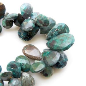 """Shop Chrysocolla Bead Shapes! Natural Chrysocolla Beads, Chrysocolla Faceted Pear Beads, Chrysocolla Briolette Beads, 11mm To 24mm Chrysocolla, Sold As  7""""/3.5"""", GDS1295 
