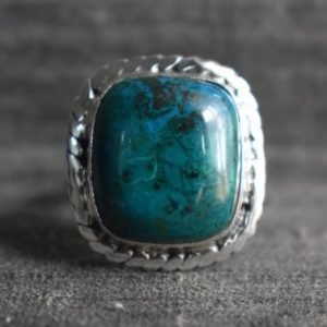Shop Chrysocolla Rings! Natural Chrysocolla Ring, chrysocolla Ring, 925 Silver Ring, green Chrysocolla Ring, chrysocolla Gemstone Ring, square Shape Ring, gemstone Ring | Natural genuine Chrysocolla rings, simple unique handcrafted gemstone rings. #rings #jewelry #shopping #gift #handmade #fashion #style #affiliate #ad