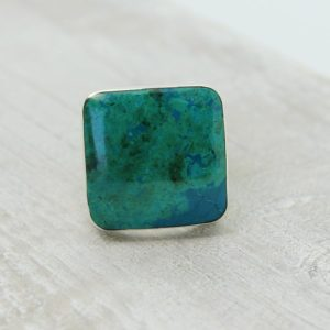 Shop Chrysocolla Rings! Chrysocolla unisex ring made of natural Chrysocolla stone and 925 sterling silver men ring simple square stone ring Chrysocolla | Natural genuine Chrysocolla rings, simple unique handcrafted gemstone rings. #rings #jewelry #shopping #gift #handmade #fashion #style #affiliate #ad