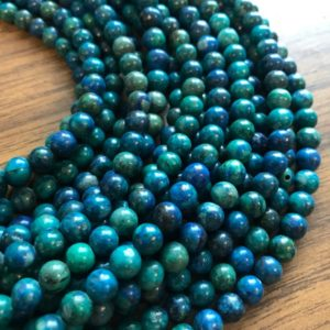 Shop Chrysocolla Round Beads! Chrysocolla 6mm Round Natural Gemstone Bead-~ -15.5 inch strand- | Natural genuine round Chrysocolla beads for beading and jewelry making.  #jewelry #beads #beadedjewelry #diyjewelry #jewelrymaking #beadstore #beading #affiliate #ad