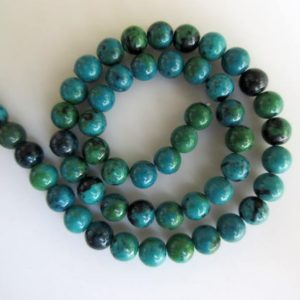 Shop Chrysocolla Beads! Chrysocolla Large Hole Gemstone beads, 8mm Chrysocolla Smooth Round Beads, Drill Size 1mm, 15 Inch Strand, GDS556 | Natural genuine beads Chrysocolla beads for beading and jewelry making.  #jewelry #beads #beadedjewelry #diyjewelry #jewelrymaking #beadstore #beading #affiliate #ad